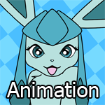 Glaceon rolls over and looks excitedly at the viewer