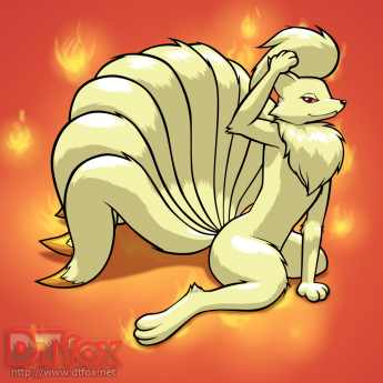 A furry Ninetales stroking its hair with its paw