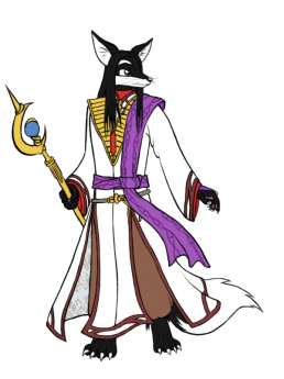 A fox dressed up as the Fire Emblem character Sephiran