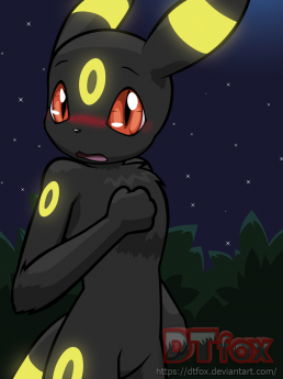 Umbreon looks at the viewer, blushing with a surprised expression.