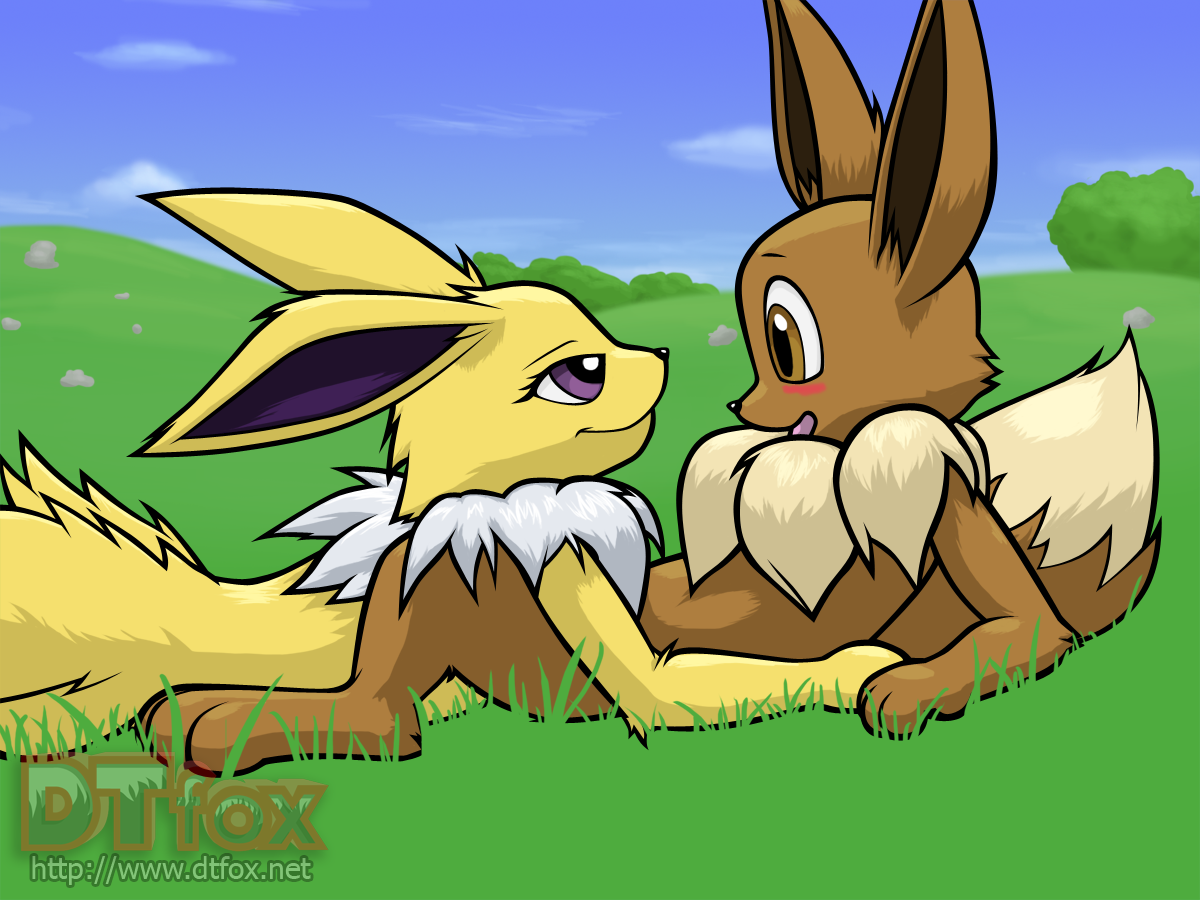 A furry Jolteon looks lovingly into an anthro Eevee's eyes