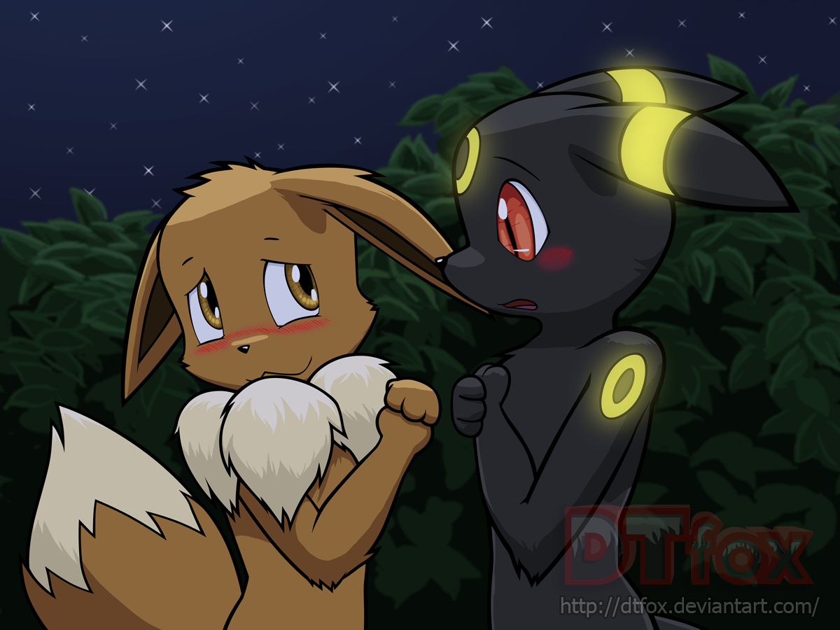 Eevee and Umbreon stare shyly at each other while blushing