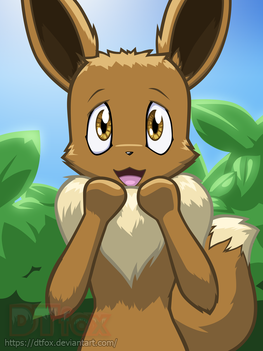 Eevee looks at the viewer with a surprised and excited expression